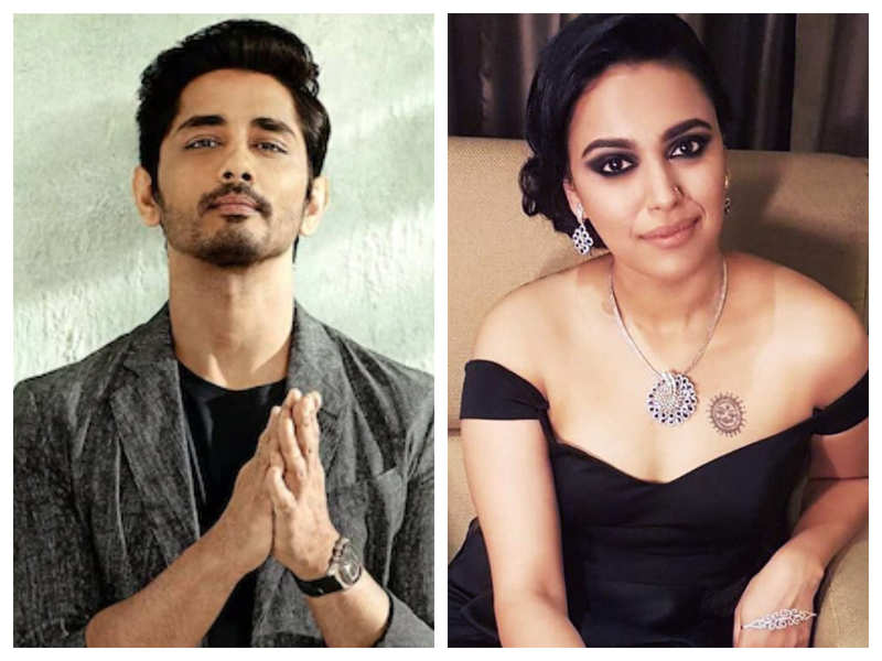 Actor Siddharth says he is being called 'South ka Swara Bhasker' by 'Hindi speaking junta', the actress reacts