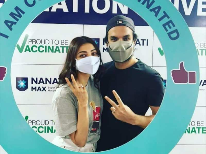 Kajal Aggarwal and Gautam Kitchlu take their first dose of COVID vaccine