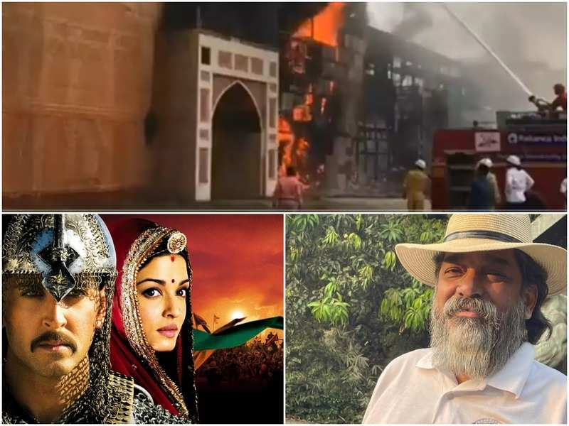 Jodhaa Akbar set on fire, poster of the film and Nitin Chandrakant Desai