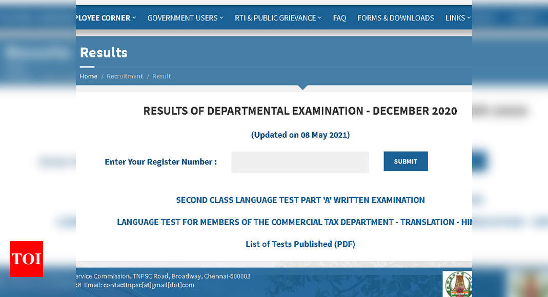 TNPSC Departmental Result for December 2020 exams released at tnpsc.gov.in; check here – Times of India