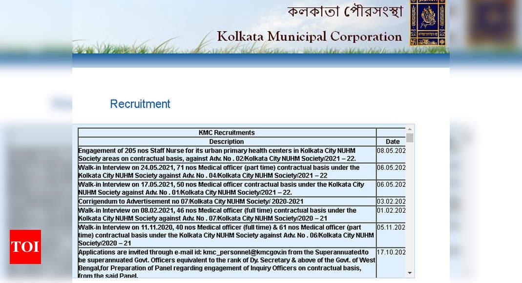 Kolkata KMC Recruitment 2021: 121 MO and 250 Staff Nurse posts – Times of India