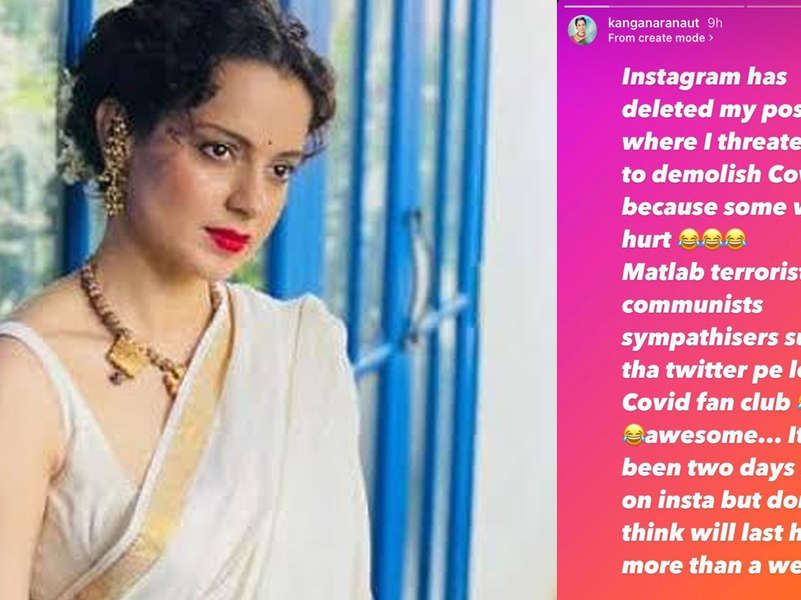 Kangana Ranaut feels she will be banned on Instagram too, laughs about hurting 'Covid fan club'