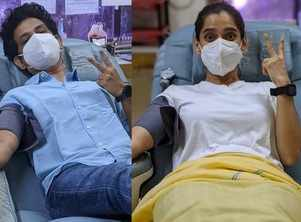 Priya Bapat and Umesh Kamat donate blood, post their COVID recovery