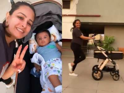 Anita Hassanandani exercises with her baby