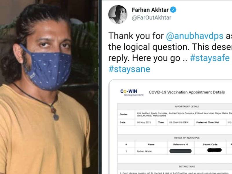 Farhan Akhtar shares screenshot of CoWIN booking slot after trolls accused him of getting 'VIP' treatment at drive-in vaccination facility