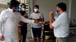 Ravi Kishan distributes COVID-19 medicine kits in Gorakhpur