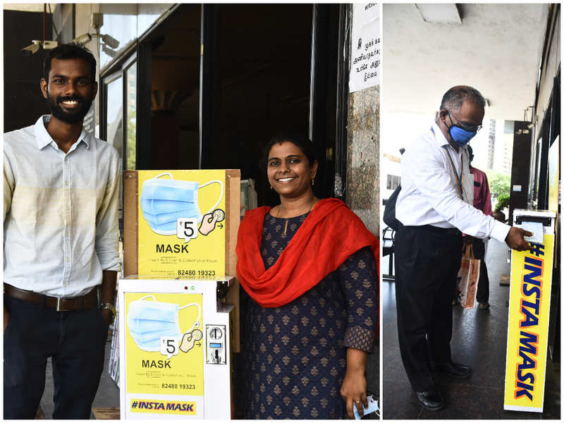 Chennai couple's innovative vending machine helps buy masks on the go for just Rs 5