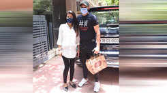 Geeta Basra and Harbhajan Singh were spotted outside a clinic in Bandra