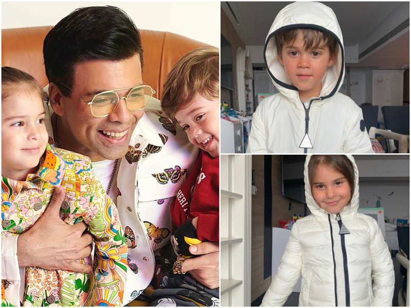 Karan Johar shares cute pictures of twins Yash and Roohi donning white rainsuits as they are 'prepping for the monsoons!'