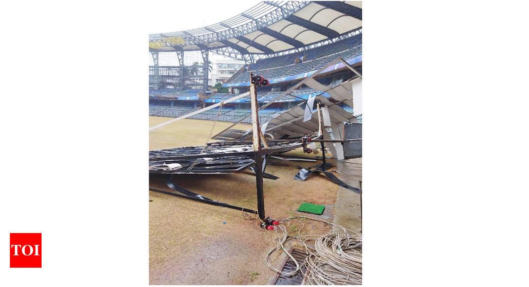 Cyclone Tauktae: Sightscreens fall at Wankhede Stadium, BKC