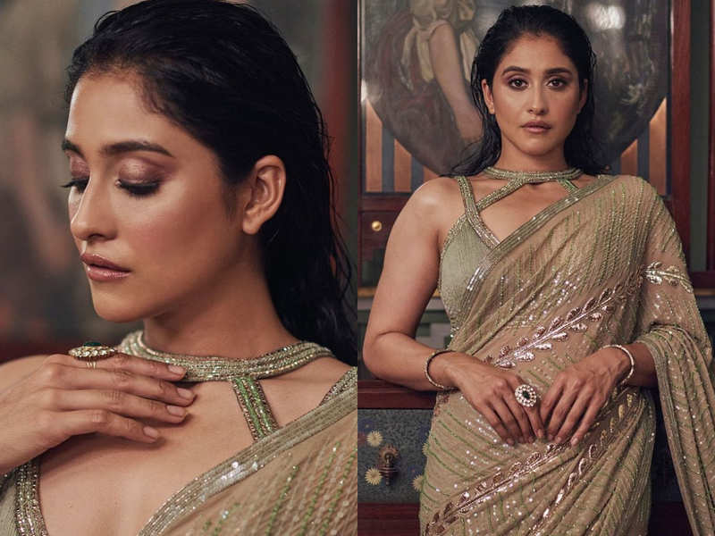 Regina Cassandra's shimmery sari with harness blouse is one balmy look