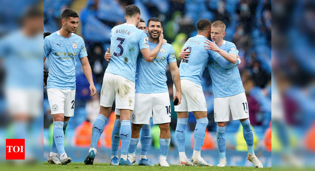 Premier League: Sergio Aguero signs off in style as Man City celebrate title with Everton rout   Football News – Times of India
