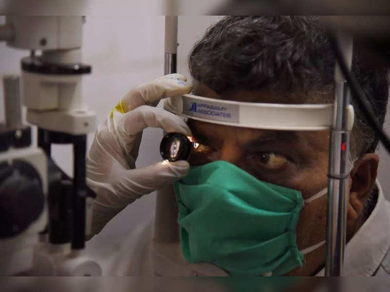 Navi Mumbai: A doctor checks a patient for black fungus at NMMC Hospital, Vashi. (PTI Photo)(