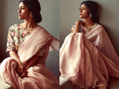 Konkona Sen Sharma's linen sari