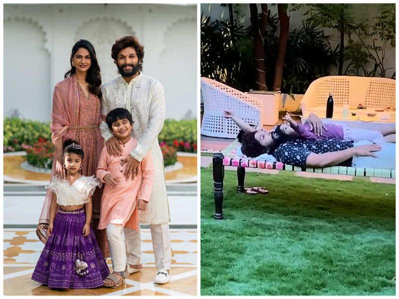 Watch: Allu Arjun, Arha and Ayaan bond over the rare sun halo in Hyderabad