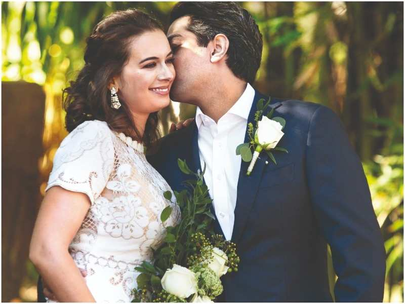 Evelyn Sharma and Dr Tushaan Bhindi at their wedding in Brisbane