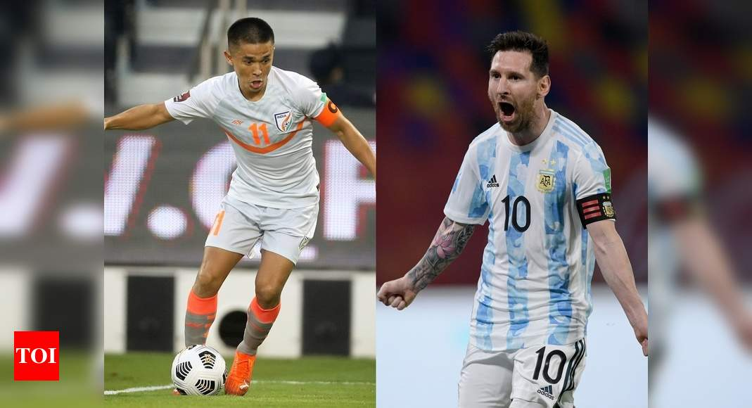 India captain Sunil Chhetri goes past Lionel Messi's tally of international goals - Times of India thumbnail