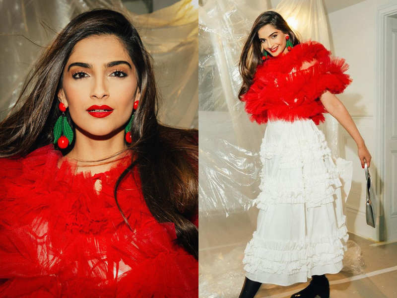 Sonam Kapoor looks ravishing in frilled tulle top and rosebud lips