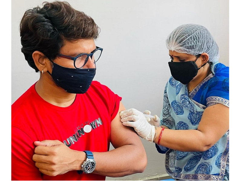 Pravesh Lal Yadav gets the second dose of COVID-19 vaccine