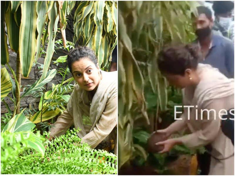 Kangana Ranaut takes part in a tree plantation activity at Mumbai's Pali Hill area