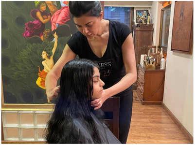 Sushmita turns hairstylist for her daughter