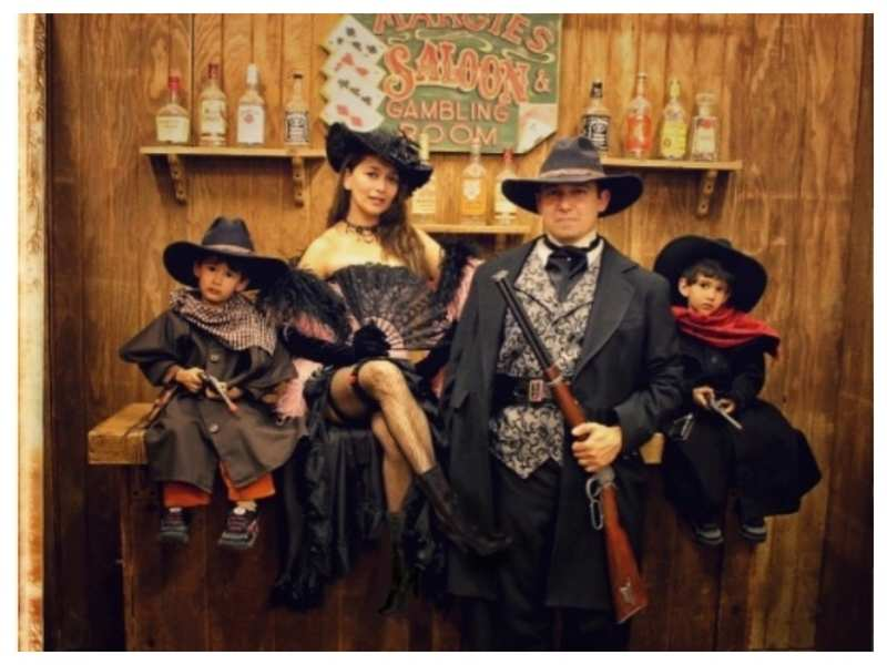 Madhuri Dixit shares a throwback picture with her family in Wild West-style outfits and it is simply too sweet for words