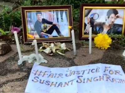 Fans gather outside Sushant's Bandra home