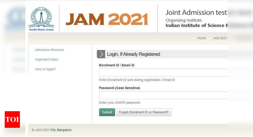 JAM 2021 first admission list today at jam.iisc.ac.in, here's direct link – Times of India