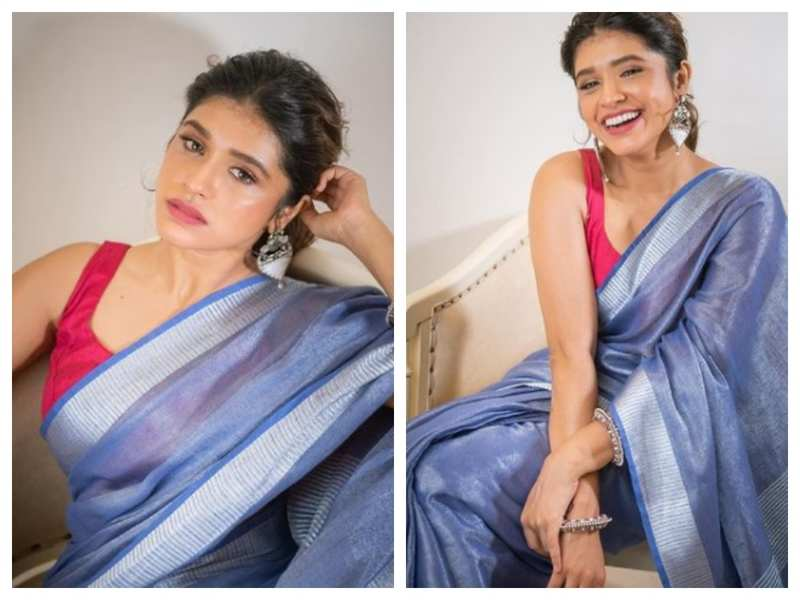 Gorgeous Alert! Sanskruti Balgude is a sight to behold in this stunning blue saree