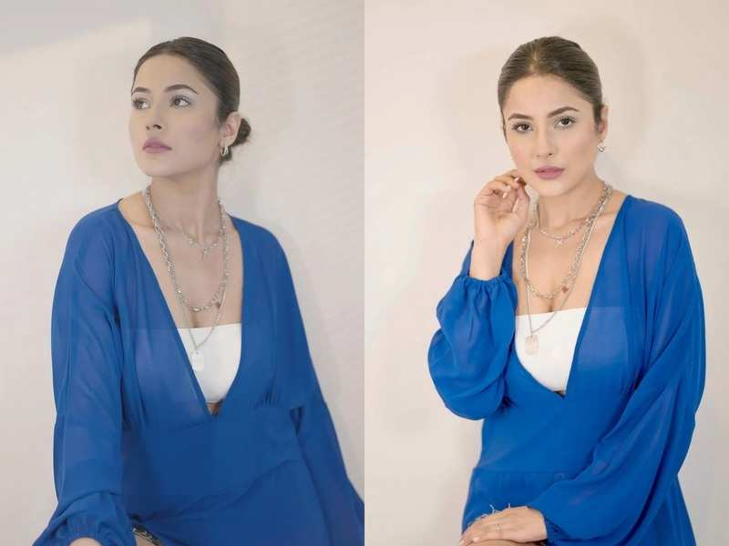 Shehnaaz Gill is summer goals in cool blue and white outfit; aces the necklace layering trend in these photos