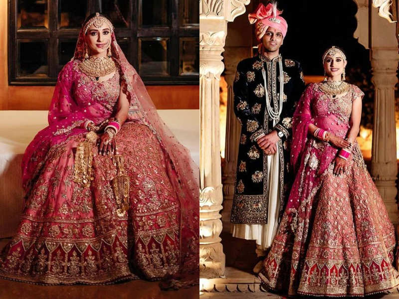 This bride stunned in a rouge pink lehenga inspired by Rajasthani jharokhas