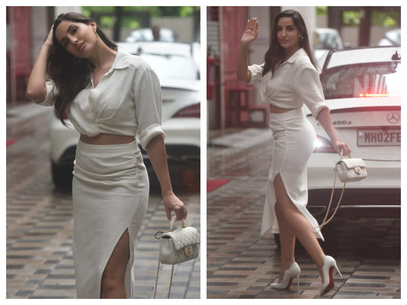 Photos: Nora Fatehi is an absolute vision in white as she gets snapped outside a studio