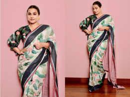 Vidya Balan's tropical print sequin sari