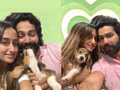 Varun posts pics with Natasha & their pet dog
