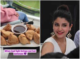 Anushka Sharma relishes a plate of hot samosas while watching Virat Kohli and team India bat at WTC final test match against New Zealand