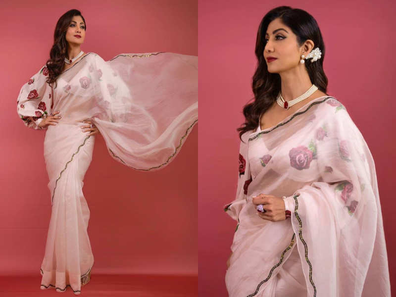 Shilpa Shetty's rose sari is the perfect tribute to summer