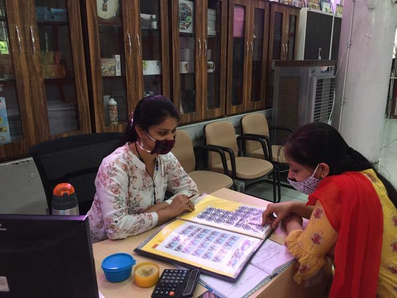 Stamp collectors at the philatelic bureau in Chandigarh
