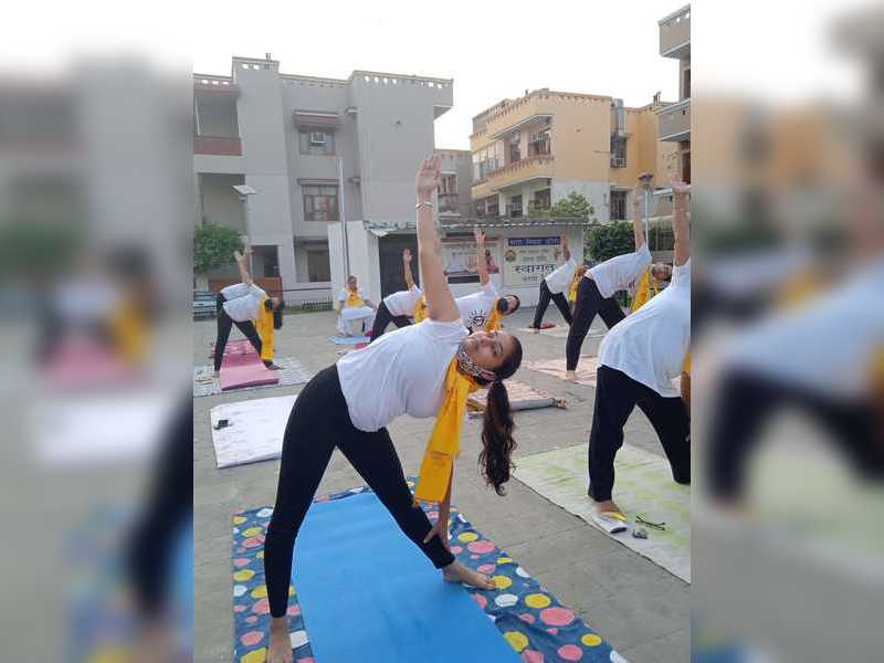 Prabjot Kaur from the department of posts during a yoga workshop