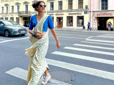 Taapsee Pannu's sari with sneakers