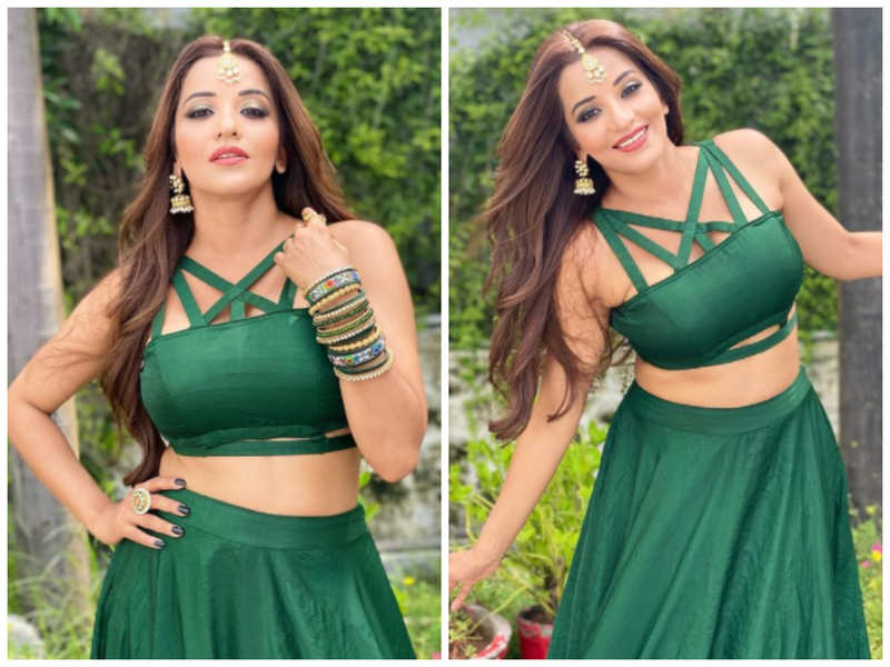 Monalisa poses in stylish green lehenga; pics go viral