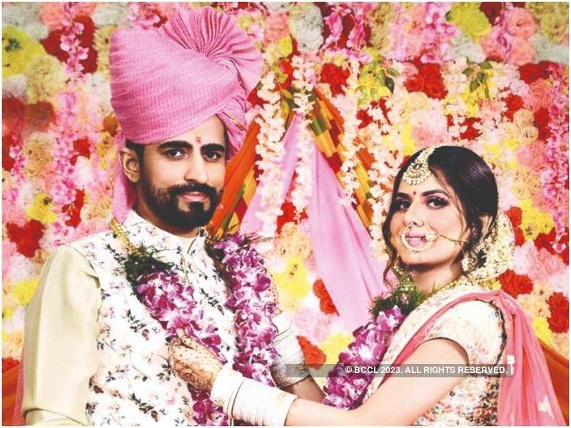 Isha Anand Sharma and Vasdev Singh Jasrotia at their wedding