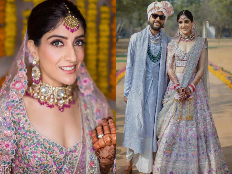 We are in love with this bride's pastel-hued floral lehenga