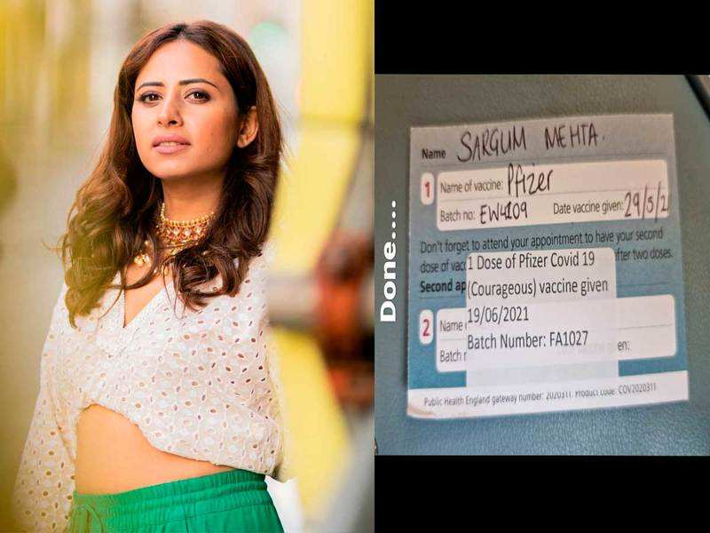 Sargun Mehta takes her second jab of Covid-19 vaccination
