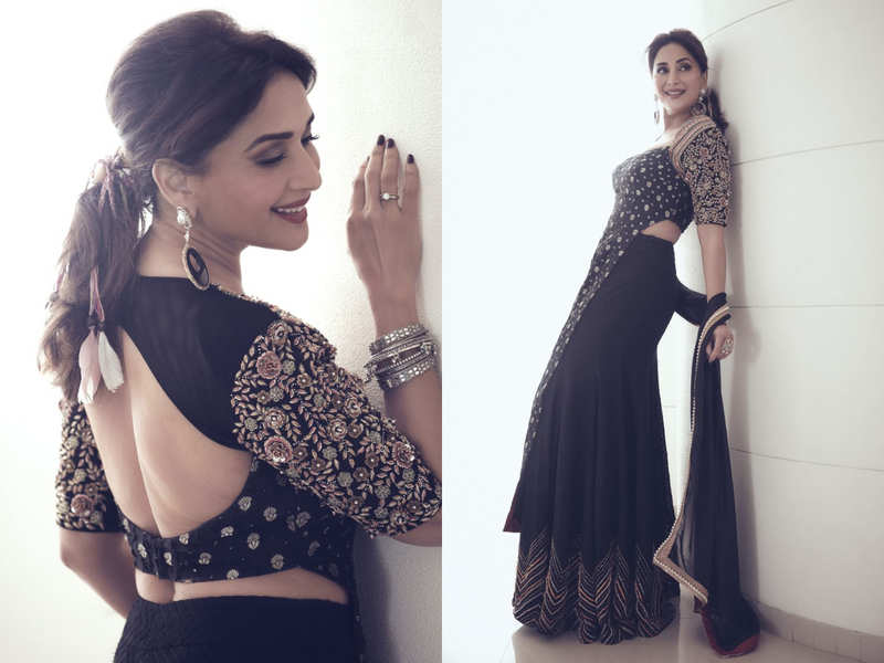 Madhuri Dixit just wore the most interesting choli with her black lehenga