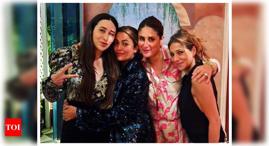 Inside photo: Karisma Kapoor poses with Kareena Kapoor Khan and Amrita Arora at her birthday bash – Times of India