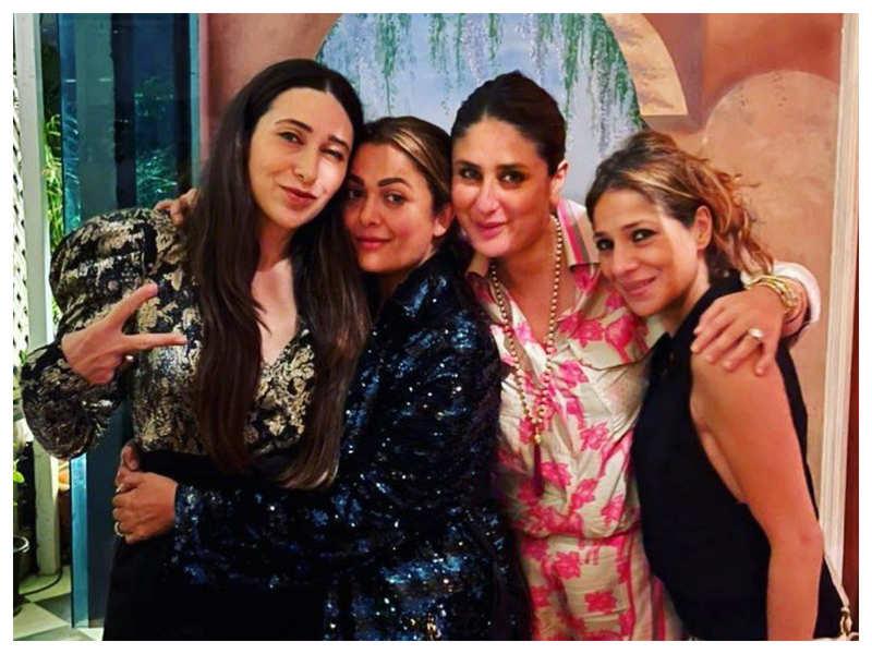 Inside photo: Karisma Kapoor poses with Kareena Kapoor Khan and Amrita Arora at her birthday bash