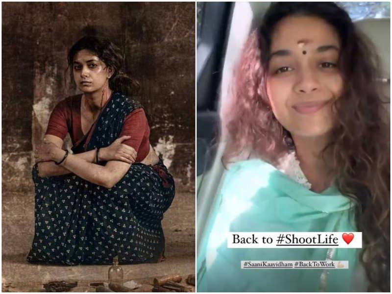 Keerthy Suresh resumes shooting for Saani Kaayidham