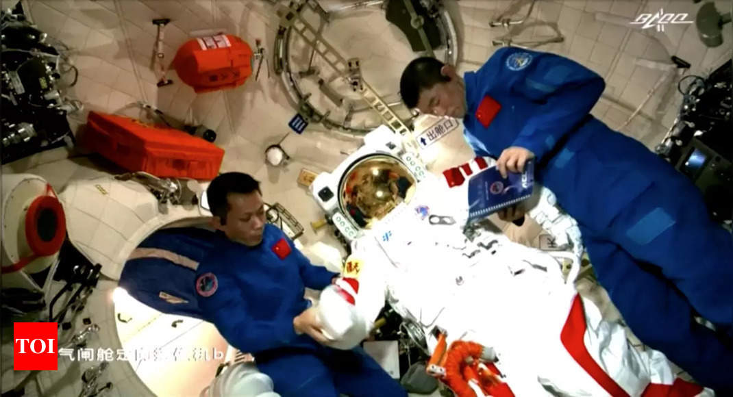Chinese astronauts make their first spacewalk outside the new station