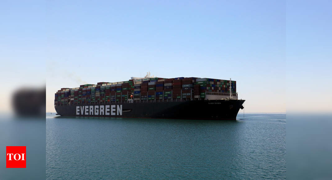 Container ship Ever Given en route to depart the Suez Canal