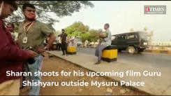 A peek into Sharan shooting in Mysuru for his upcoming film Guru Shishyaru